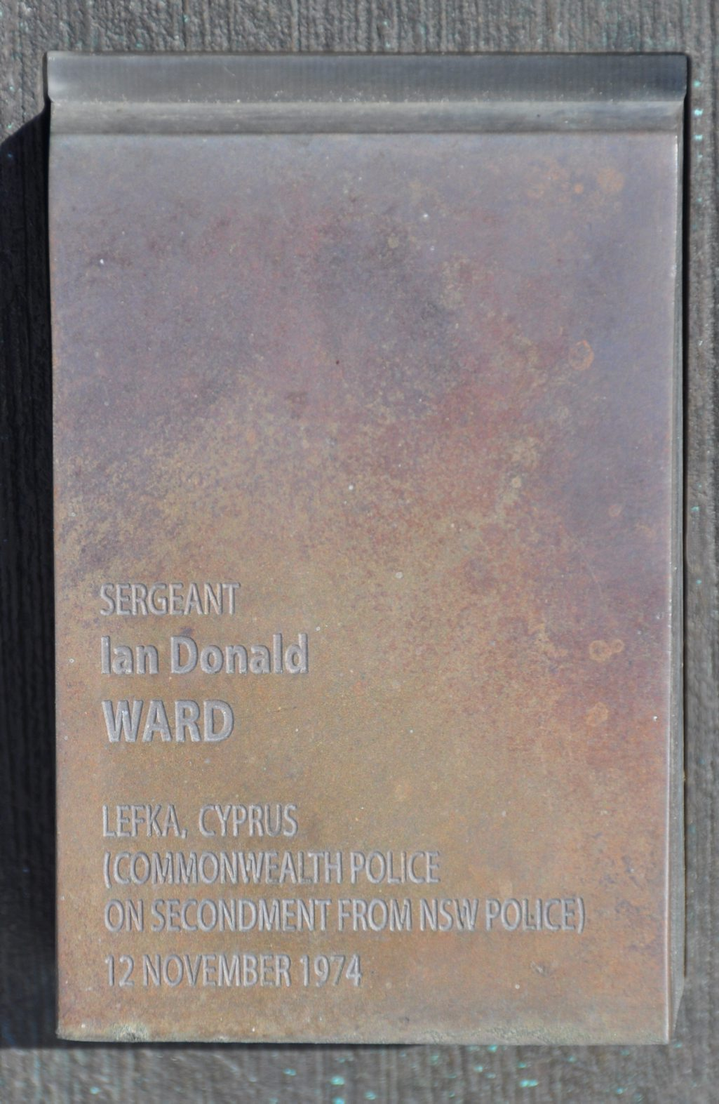 National Police Wall of Remembrance Touch Plate for Ian WARD