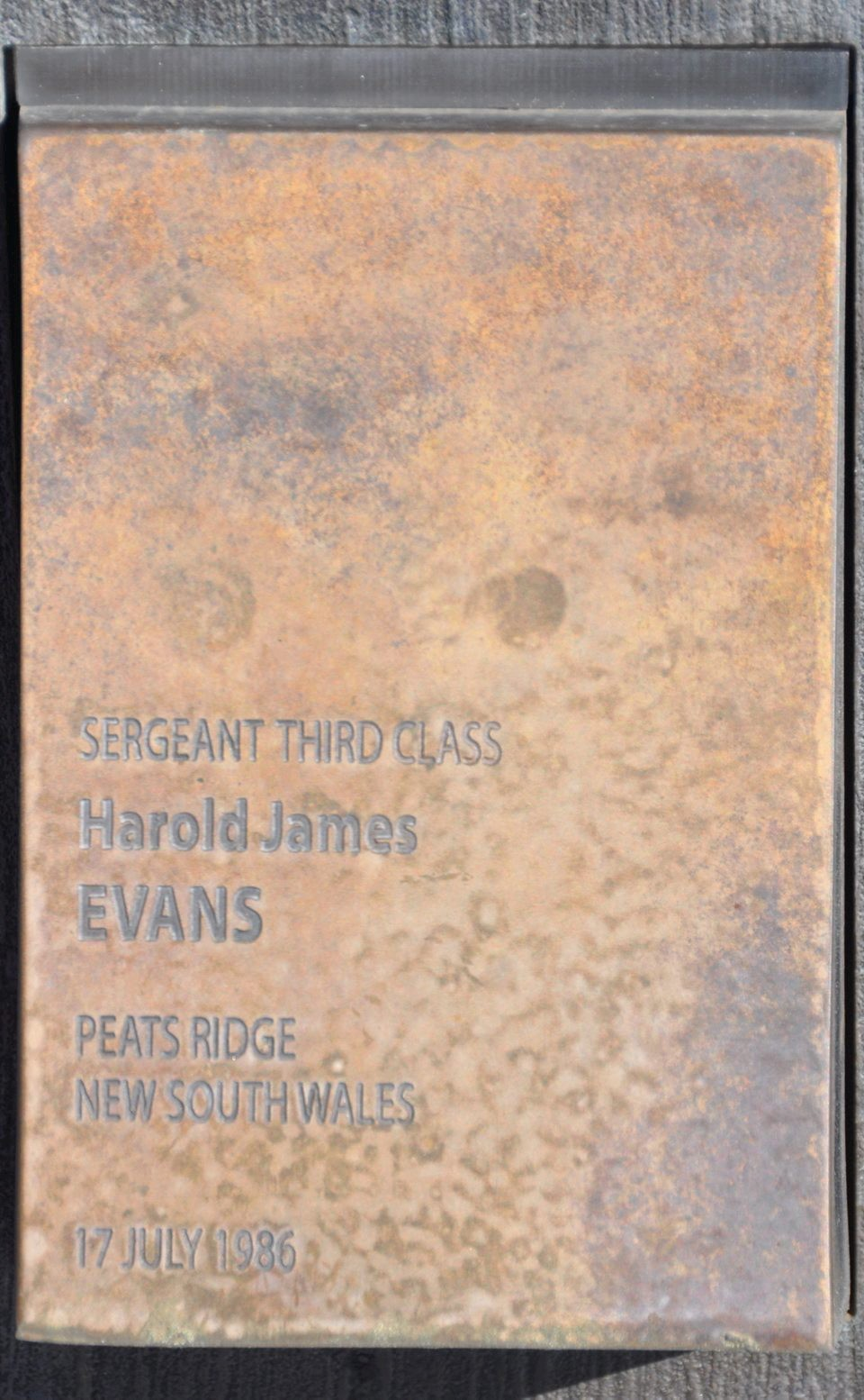 Sgt Harold James Evans 'touch stone' at the Canberra Police Wall of Remembrance.