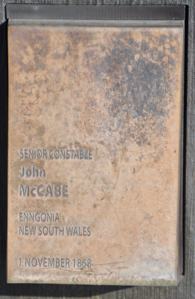 Touch Plate - Police Remembrance Wall, Canberra. Senior Constable John McCABE Enngonia, NSW 1 November 1868