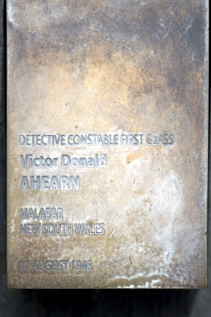Touch plate for Victor Donald AHEARN at the National Police Wall of Remembrance, Canberra.