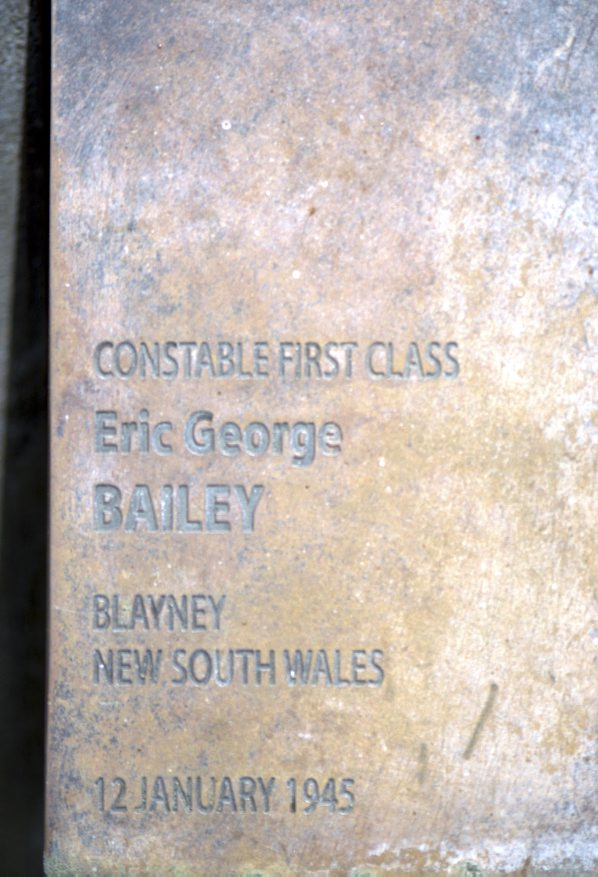 Eric George BAILEY GC. Touch plate at National Police Wall of Remembrance, Canberra