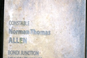 Norman Thomas ALLEN touch plate at the Australian National Police Wall of Remembrance