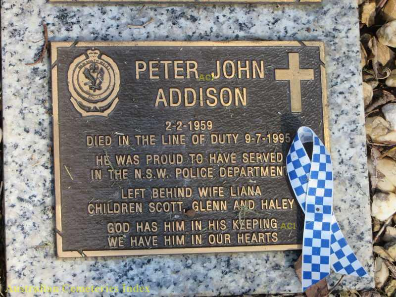 Grave plaque for Peter ADDISON