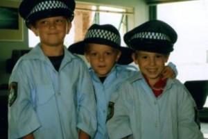 Honouring their grandfathers: Blake Addison, Joey Addison and Liam Jones.