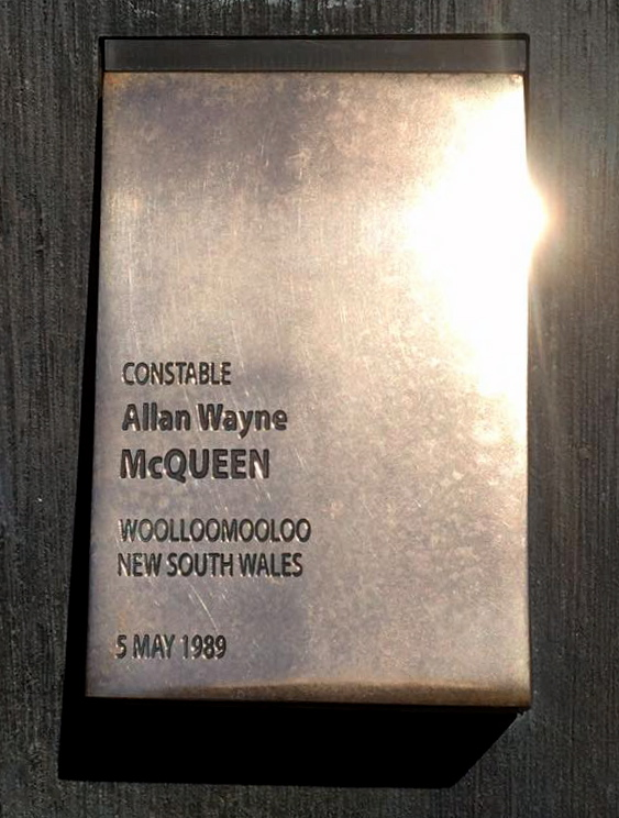 Allan's touch plate was polished today, this 27th anniversary, 5 May 2016, by a mate, Craig Coleman, at the National Police Wall of Remembrance, Canberra.