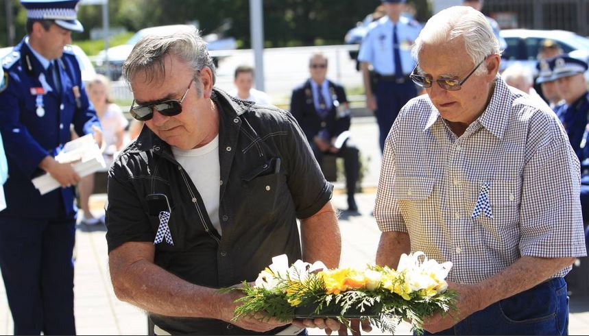 Kenneth Nash (left) at the Police Remembrance Day ceremony on Monday. Picture: ANDY ZAKELI.