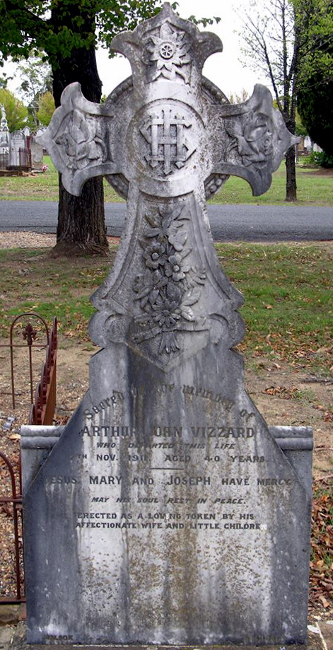 Arthur John VIZZARD Grave. Inscription Sacred to the memory of ARTHUR JOHN VIZZARD WHO DEPARTED THIS LIFE 7TH NOV. 1911. AGED 40 YEARS JESUS, MARY AND JOSEPH HAVE MERCY MAY HIS SOUL REST IN PEACE. ERECTED AS A LOVING TOKEN BY HIS AFFECTIONATE WIFE AND LITTLE CHILDREN