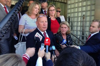 William Crews' father Kelvin speaks to the media outside the inquest into his son's death.