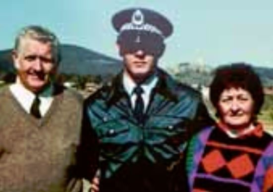 Barry and Freada Thornton with their son Chris at his graduation in 1987