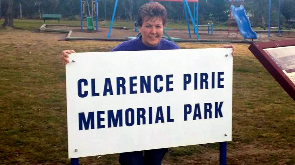 Clarence Roy PIRIE's Daughter, Maryanne - July 2014 in the park dedicated to her father killed 54 years earlier.