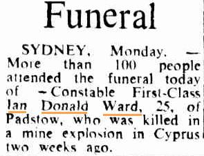 Funeral notice. Page 11 of 18 of The Canberra Times Tuesday 26 November 1974 http://trove.nla.gov.au/ndp/del/article/110789746?searchTerm=ian%20donald%20ward&searchLimits=