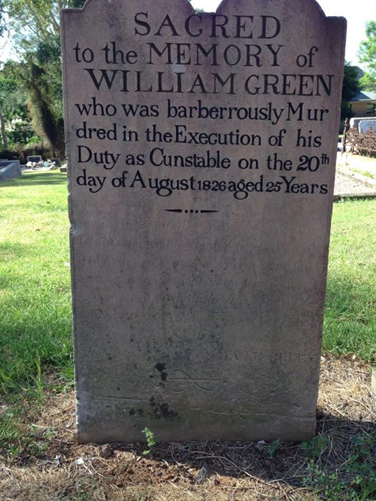 Constable William GREEN - NSWPF - Murdered - 20 Aug 1826 - front of headstone