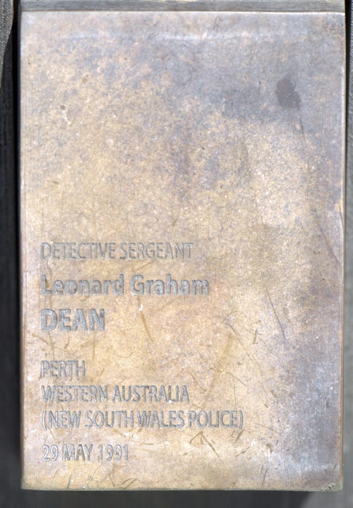 Touch plate for Leonard Graham DEAN at the National Police Wall of Remembrance, Canberra.