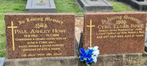 """Cyril Elgar HOWE QPM, Cyril HOWE, Sgt HOWE, Constable 1/c HOWE: Paul HOWE, one of Cyrils' sons, is buried alongside of his father. Cyrils' wife, June HOWE, having died in September 2020, is buried with Cyril. """" Together forever """""""