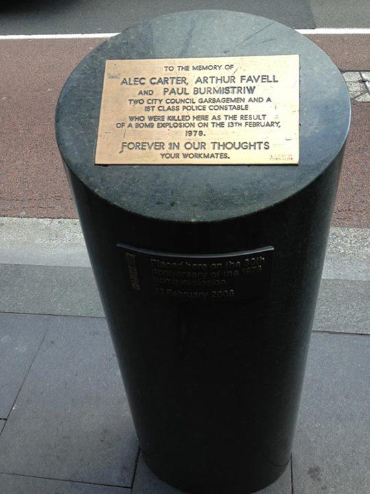 Hilton Bombing memorial plaque to Alec Carter, Arthur Favell & Cst 1.C Paul Burmistriew