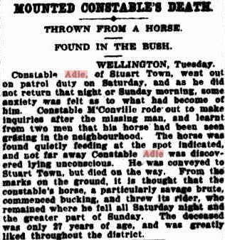 Cst William Cochrane ADIE - Horse accident - 11 Oct 1908 - Story 01