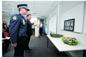 Minister for Police and Emergency Services, Michael Gallacher, and NSW Police Commissioner Andrew Scipione, pay their respects to slain local police officer, David Carty and Wednesday's special memorial service in Sydney.