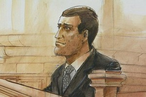Court artist sketch of Michael Allen Jocobs.