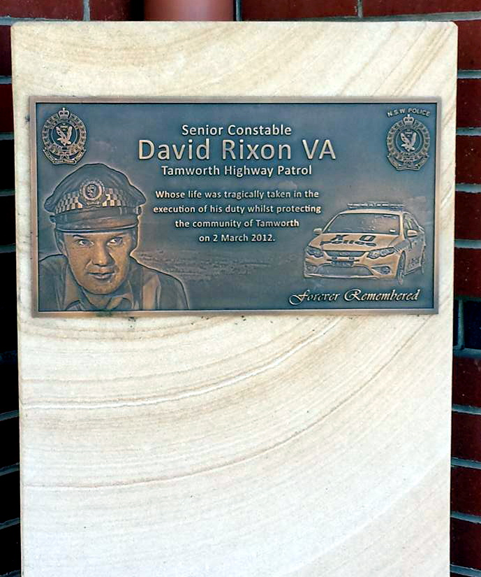memorial plaque at the front of Tamworth Police Station.