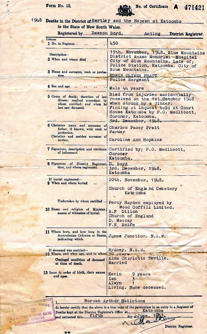 Death Certificate of Edwin Oliver PRATT