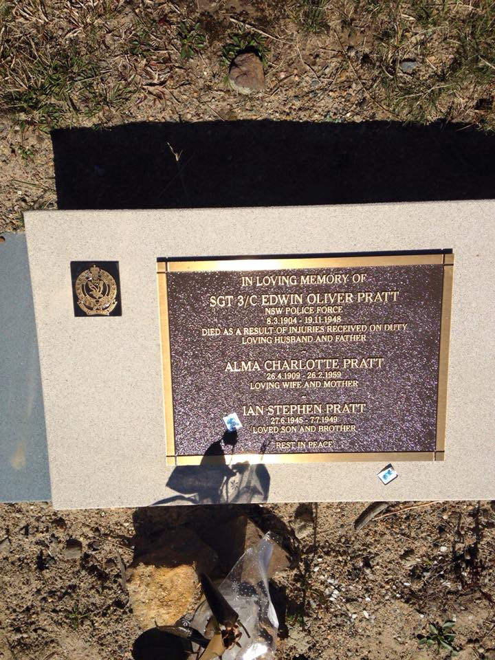Eucser Haze?Beyond Courage<br /> 24 August 2017 ·<br /> Just one more update on Sgt Pratt's grave with a NSW Police crest added to the marker. My thanks to John McDiarmid and NSWPF Protocol for their assistance.<br /> Olwyn Danny Ken for your information.