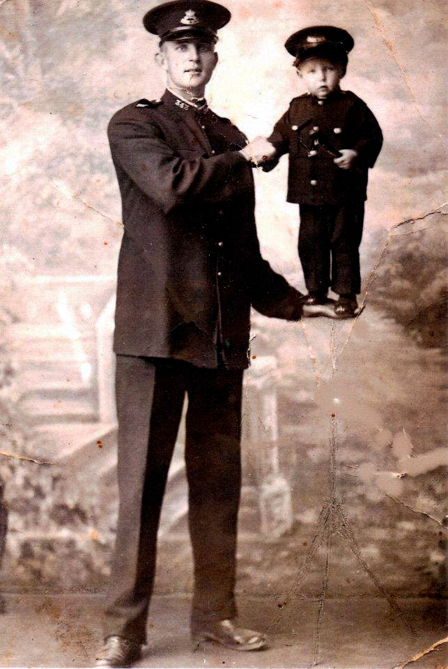 Sgt Edwin Pratt from 1930 holding the grandmother of Leanne Bailey ( 2013 )