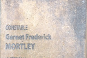 Touch plate at the National Police Wall of Remembrance, Canberra. Constable Garnet Frederick MORTLEY