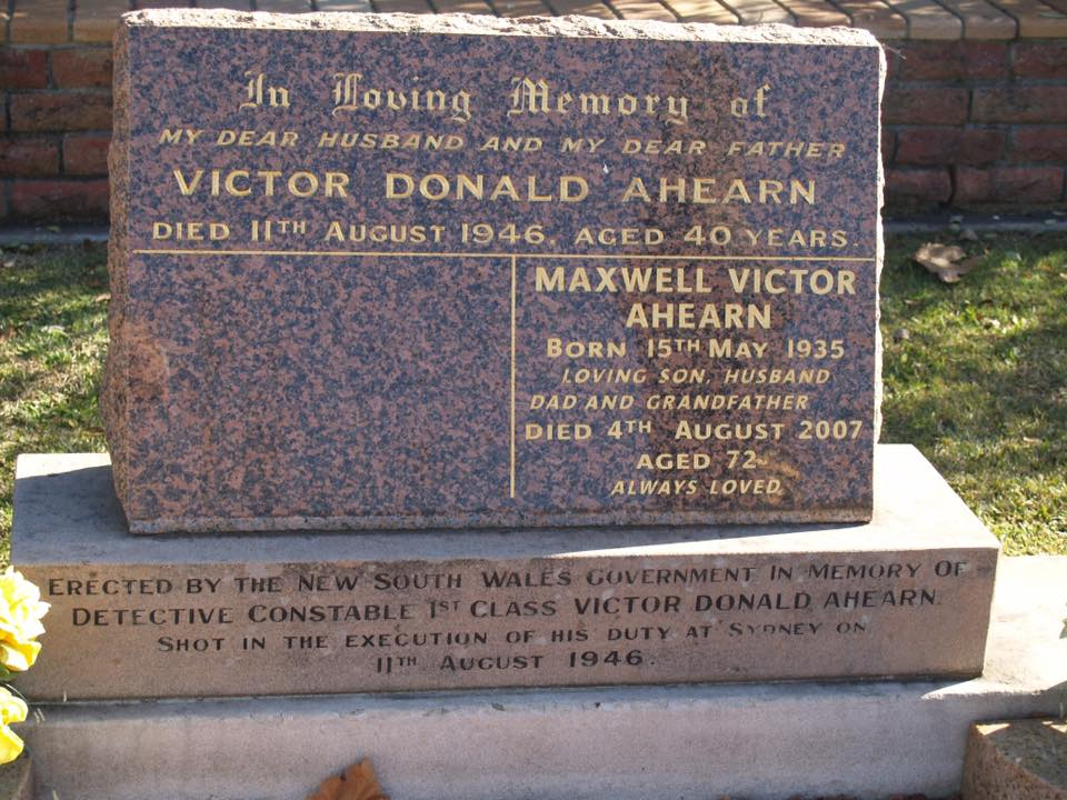 Grave Headstone of Victor AHEARN