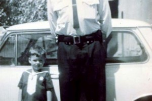 Sgt Harold James Evans with son Mark. Taken at West Wyalong, 1969 / 70. Photo courtesy of Virginia & Mark Evans.