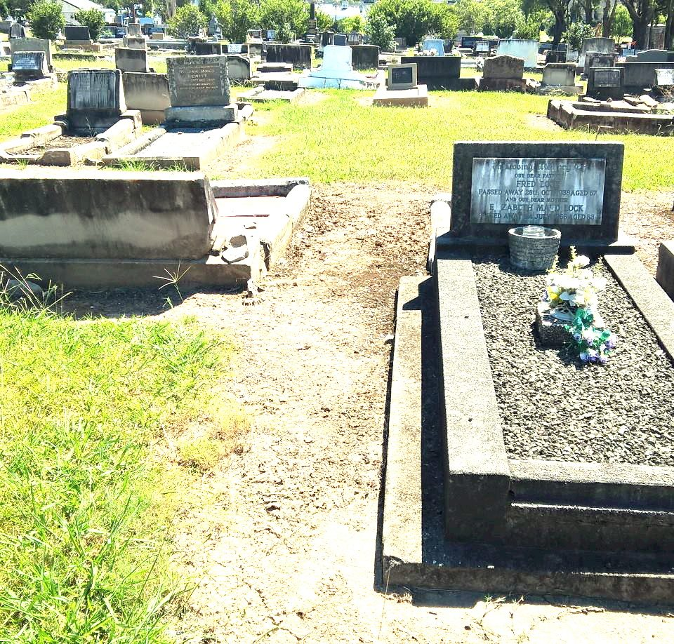 The burial site of the late Harold William Sturgiss, unfortunately his burial site of Plot 14 is unmarked, the monument next to his burial site is Elizabeth and Frederick Lock, Plot 13, Row AB, Anglican 1 Section.<br /> In the photo, his burial site is to the left of the Lock Monument.<br />