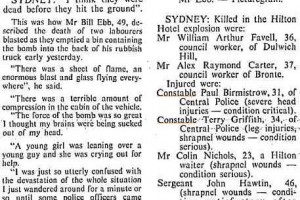 Hilton Bombing. The Canberra Times Tuesday 14 February 1978 page 6 of 18