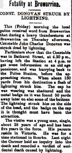 John Charles DONOVAN - Killed by lightning 12 Jan 1922 - Newspaper article 1