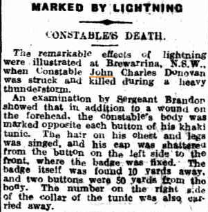 John Charles DONOVAN - Killed by lightning 12 Jan 1922 - Newspaper article 2