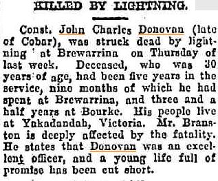 John Charles DONOVAN - Killed by lightning 12 Jan 1922 - Newspaper article 3