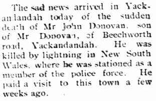 John Charles DONOVAN - Killed by lightning 12 Jan 1922 - Newspaper article 4