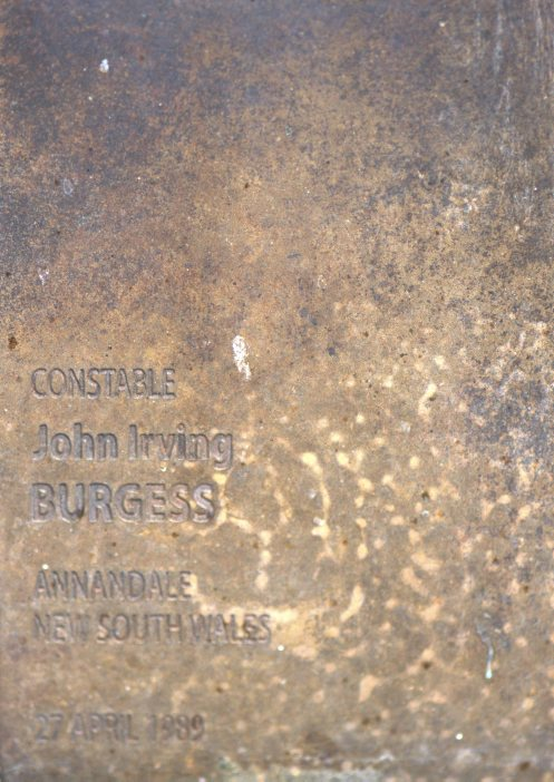 Constable John Irving BURGESS - Touch plate at National Police Wall of Remembrance, Canberra.