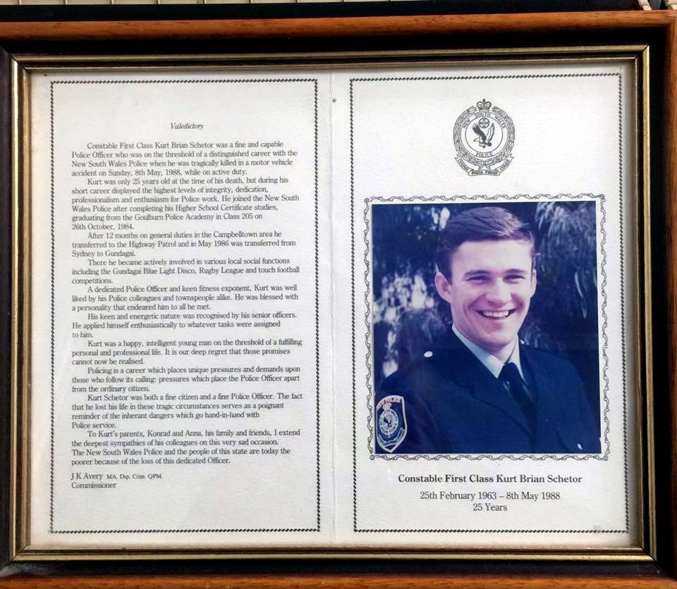 Memorial plaque inside the foyer of Cootamundra Police Station