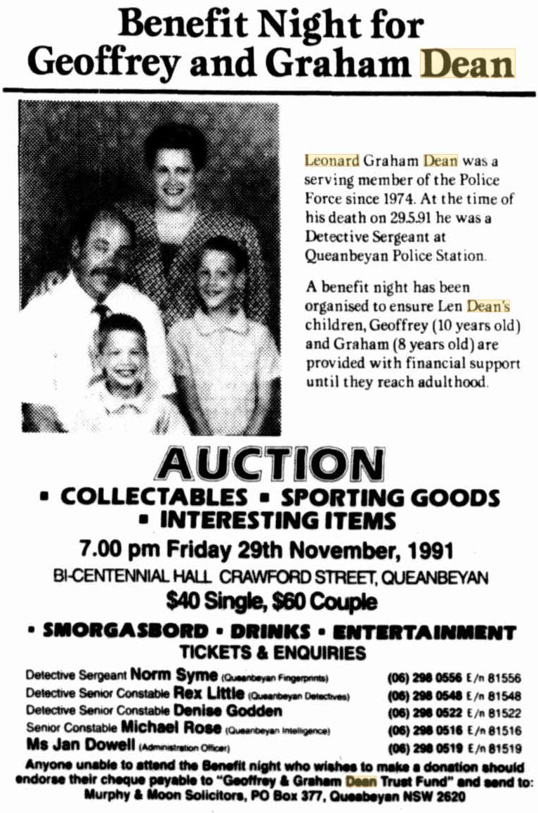 Benefit Night for Geoffrey DEAN & Graham DEAN