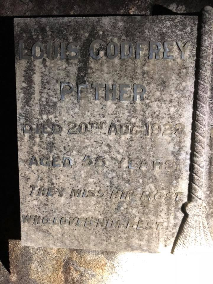 Grave of Detective Sergeant 2nd Class Louis Godfrey PETHER & wife - Olivia May PETHER