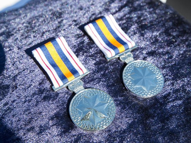 The medals awarded to widows of Peter Addison and Robert Spears. Picture: Lindsay Moller