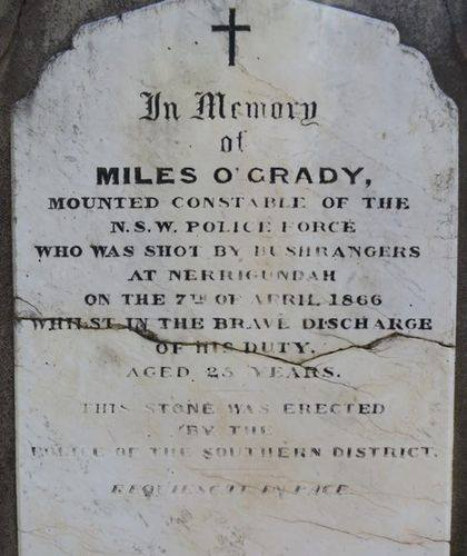 Miles O'GRADY 3 - NSWPOL - Murdered 9 Apr 1866