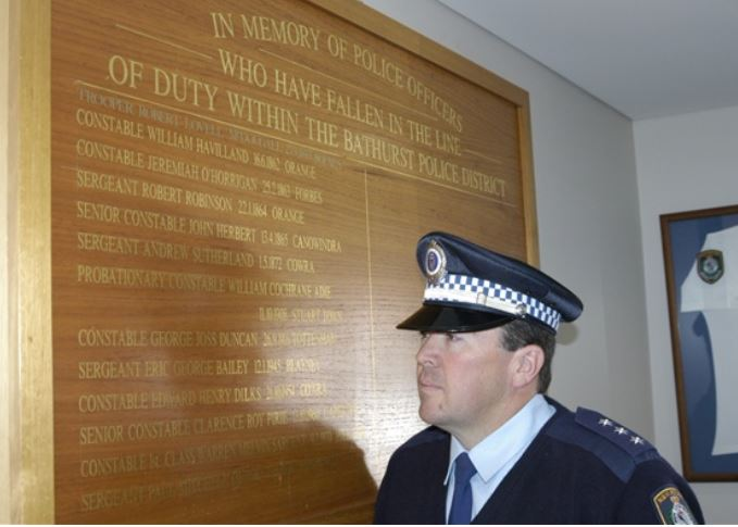 ANOTHER LIFE LOST: Chifley Local Area Command Acting Inspector Lionel White said police in Bathurst have been personally affected by the death of Constable William Crews in Sydney on Wednesday night. Photo: BRENDAN ARROW 091010