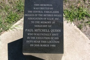 Paul Mitchell Quinn - monument near the murder scene