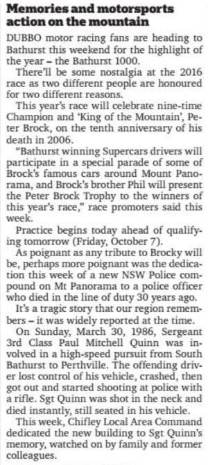 Paul Mitchell Quinn, Paul Quinn, Mt Panorama, Paul Quinn Police Compound