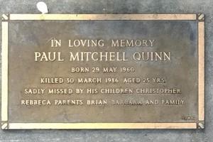 Paul Mitchell Quinn - grave plate