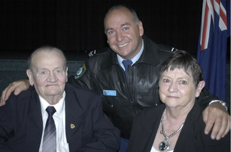 PROUD MOMENT: The parents of the late Sergeant Paul Quinn, Brian and Barbara, with the inaugural winner of the Paul Quinn Award, Acting Sergeant John Gallop. Photo: BRIAN WOOD 051712