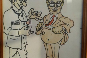 The cartoon was presented to Detective Inspector Stevenson when he returned to work after being shot. It was donated by the Detective Inspectors wife to Newtown Police Station last year ( 2013 ) as part of their memorabilia collection.