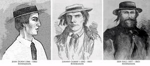 The bushrangers (left to right) Dunn, Gilbert and Hall
