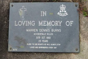 Warren Dennis BURNS Clarence Lawn Cemetery, Armidale Road, Sth Grafton. 29 46' 00S / 152 55' 41E.
