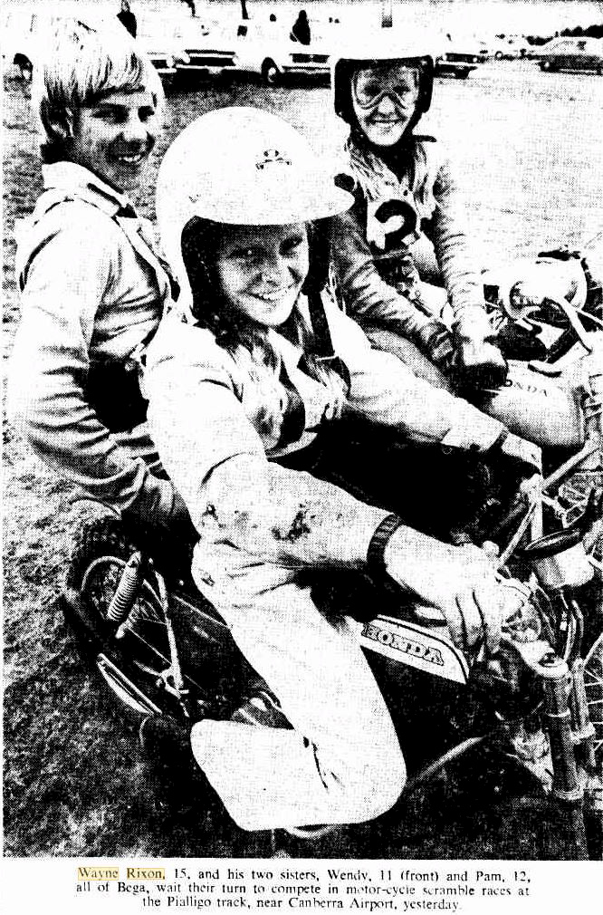 Wayne Rixon, 15, and his two sisters, Wendy, 11 ( front ) and Pam, 12, all of Bega, wait their turn to compete in motor-cycle scramble races at the Pialligo track, near Canberra Airport, yesterday ( Sunday 11 February 1973 )